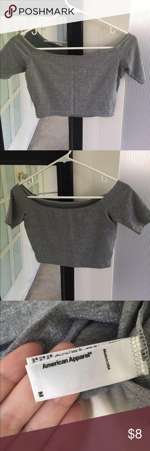 American apparel off shoulder tshirt Color: grey/ size: medium/ cropped off shoulder tshirt/ new American Apparel Tops Crop Tops