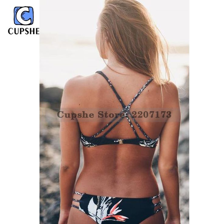 12.89$  Buy now - http://alib6l.shopchina.info/go.php?t=32669975041 - Cupshe 2016 Hot  Women's Black Midnight Garden Printing Padding Bikini Set  #buyonlinewebsite