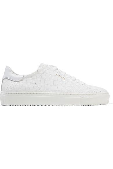 Rubber sole measures approximately 30mm/ 1 inch White croc-effect leather Lace-up front