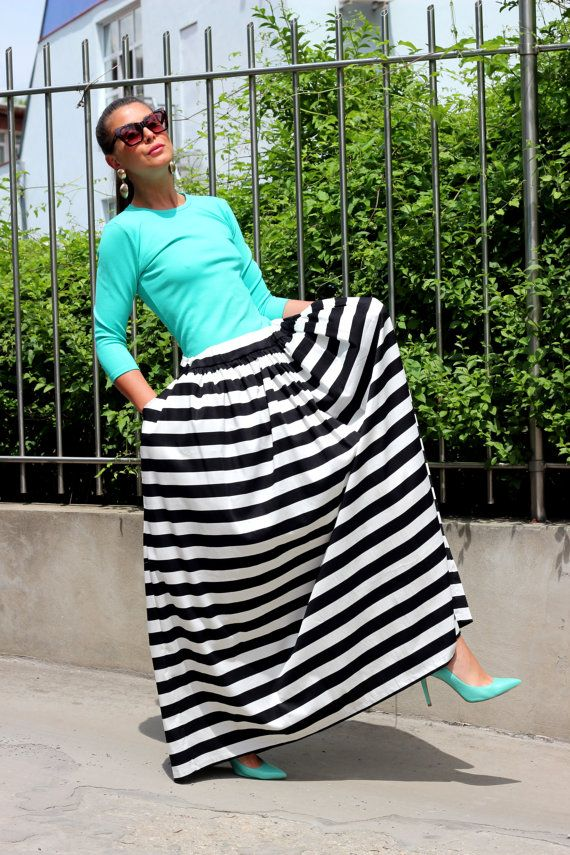 Black and White Stripes Maxi Long Cotton by cherryblossomsdress