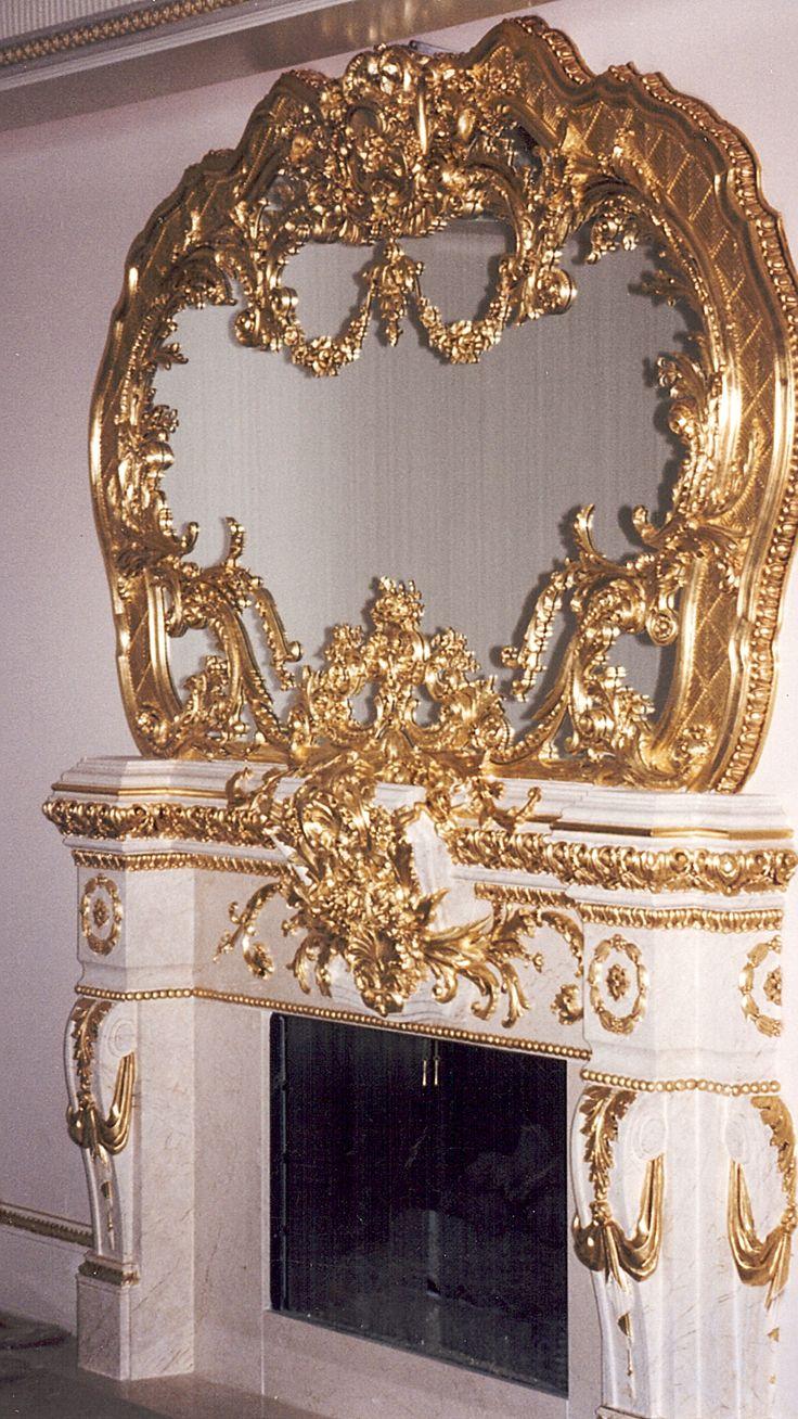 Mirror Design,  Mantel Overlay, Compo Installion, Gilding, Mantel Marblizing  by James Evinczik