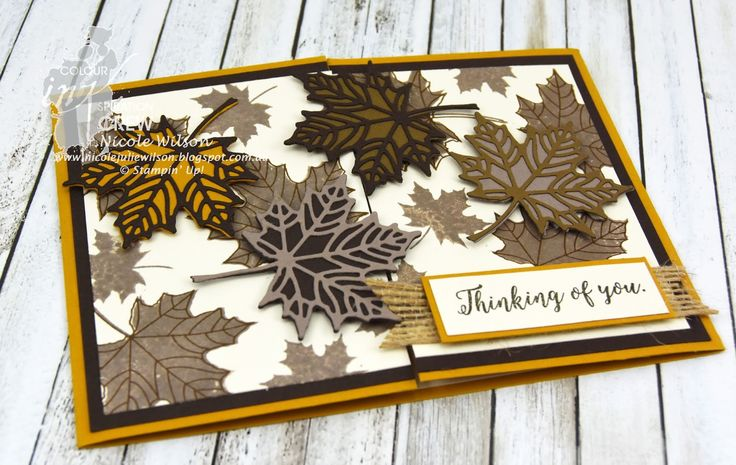 Nicole Wilson Independent Stampin' Up!® Demonstrator Colour INKspiration Challenge #08 Colorful Seasons, Delightful Dijon, Tip Top Taupe, Soft Suede, Early Espresso and Very Vanilla www.facebook.com/NicoleWilsonStamp, #stampinup, #leaves,  #thinkingofyou, #CI08
