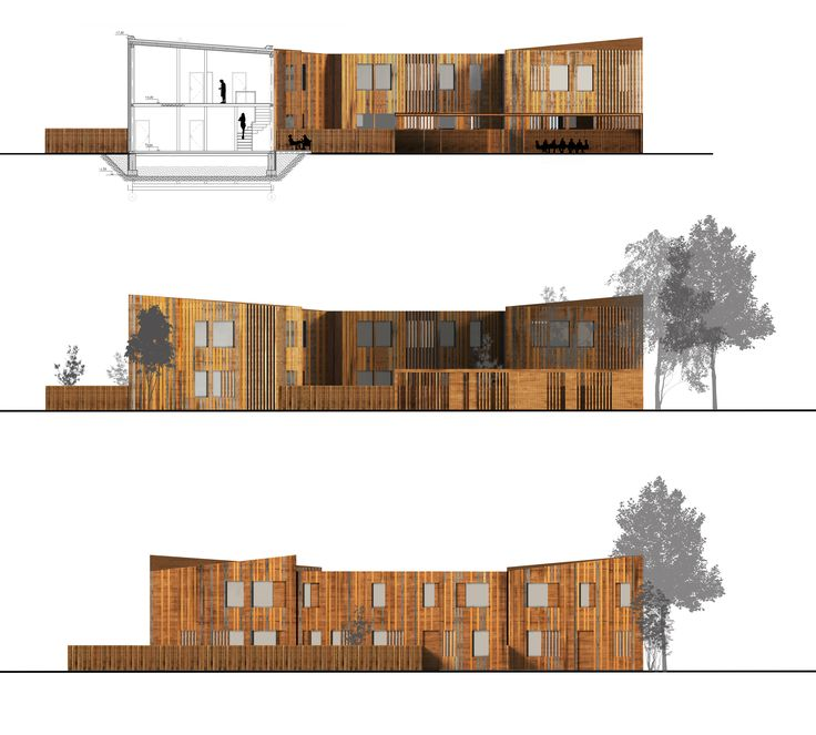Section. Elevation. Single family housing. Wooden architecture.