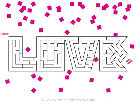 Valentine printable maze