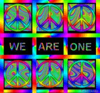 several bright psychedelic peace signs text, we are one
