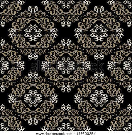 Seamless damask classic Wallpaper on the black Background. Raster version. - stock photo