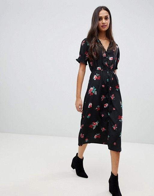 e620fcceb63b Influence | Influence shirred sleeve floral midi dress with button down  front