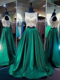 Princess Scoop Neck Satin Tulle Sweep Train Beading Two Piece Elegant Prom Dresses - dressesofgirl.com
