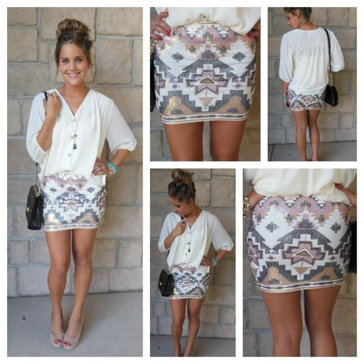 Blouse & sequin skirt = loveeee