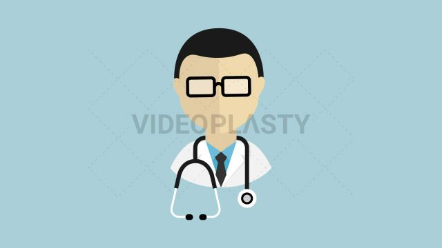 An icon of a male doctor with glasses and a stethoscope around his neck designed in flat design style. Three version are included:in/out loop andin (can be extended with the loop version) Clip Length:10 seconds Loopable: Yes Alpha Channel: Yes Resolution:FullHD Format: Quicktime MOV