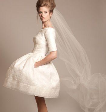 bell shaped short wedding dress