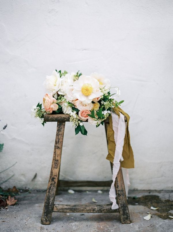 Romantic Tree Peony and Garden Rose Bouquet | Taralynn Lawton Photography | http://heyweddinglady.com/ethereal-spring-fine-art-rose-garden-wedding-shoot/