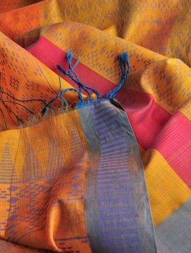 Mustard Tribal Silk Cotton Dupatta