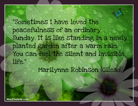 """Today's quote """"Sometimes I have loved the peacefulness of an ordinary Sunday..."""""""
