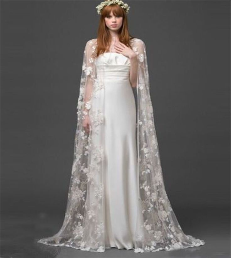 White Ivory Lace Cloaks Mantle Scarf Wedding Jacket Bolero Long Bridal Jacket Overlay Bridal Jacket /Wrap/Shawl/Cape/Stole/ Coat