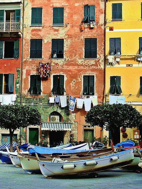 Vernazza, Cinque Terre, Italy -- I love this little town. I met Rick Steves here, while I was carrying his travel book. I wish I could return & live here forever. Loved doing Italy's La Passeggiata - the Evening Stroll pas