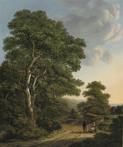 Travellers resting in a wooded landscape by Adrianus Serne