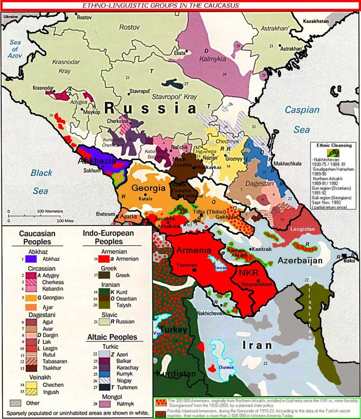 Map of the ethnic composition of the Caucasus.