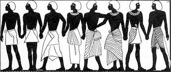 For nearly 1,500 years it was very rare for men to wear anything on their torso, or upper body. For the upper class and the pharaohs, the main form of dress was the schenti, a simple kilt that tied around the waist and hung about to the knees. Working men wore first a loincloth, a very small garment that covered just the private parts, and later the loin skirt, which was somewhat more modest and covered from the waist to the mid thigh.