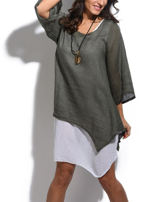 Khaki Three-Quarter Sleeve Linen Sidetail Tunic