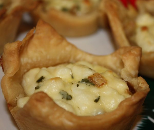 Caramelized Onion and Thyme Goat Cheese Tartlets.  Made for a Party- Huge Hit! (I used Phyllo dough)