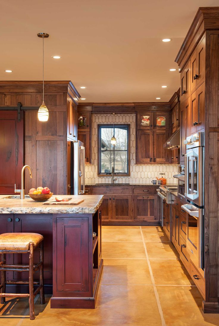 Rustic Kitchen Design with Walnut Cabinets in Mountain Home in ...