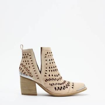 Jeffrey Campbell SABROSA Cut-Out Western Ankle Bootie Natural Leather