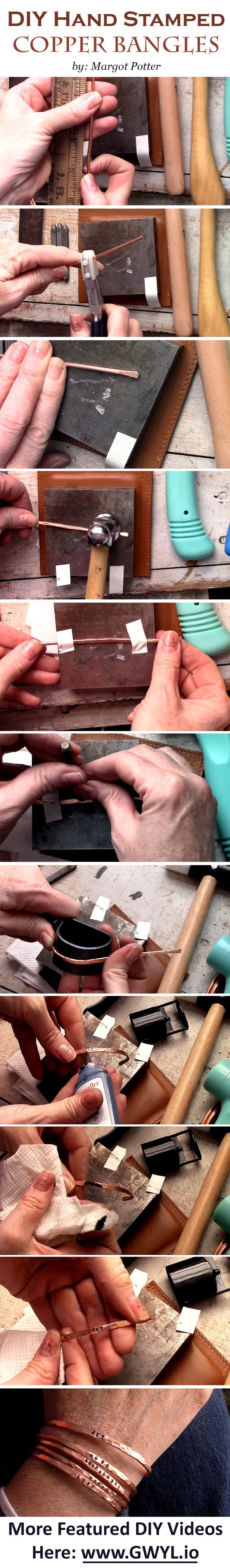 What if we tell you that you can create a stack of adorable stamped wire bangles you see in the boutiques? Yes, it's possible! See the video and full written instructions here ==> http://gwyl.io/diy-hand-stamped-copper-bangles/