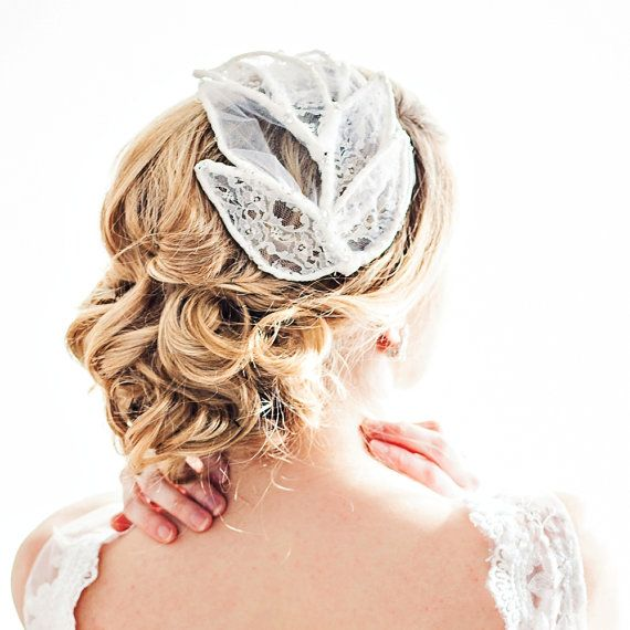 Lace and Tulle Leaf Bridal Headpiece by ChantillyLaceDesigns, $298.00