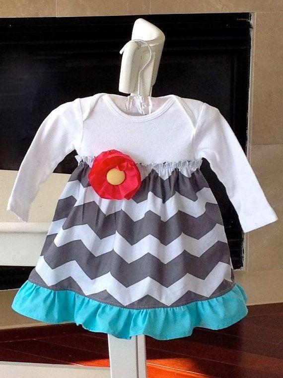 Chevron baby dress, girls onesie dress, spring baby dress, chevron dress, Newborn -24 months