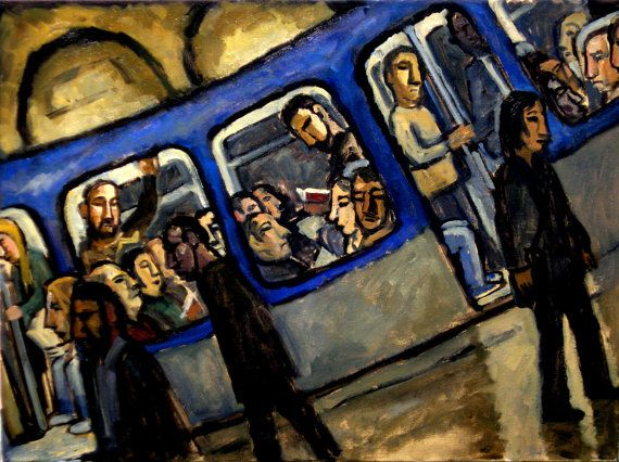 Blue Metro. Oil on Canvas Original Modern Art  by MetroStudio