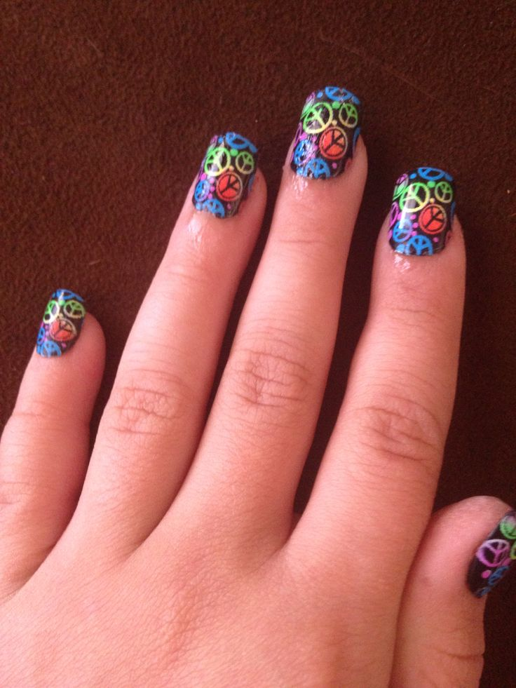 Neon Peace Sign Nails