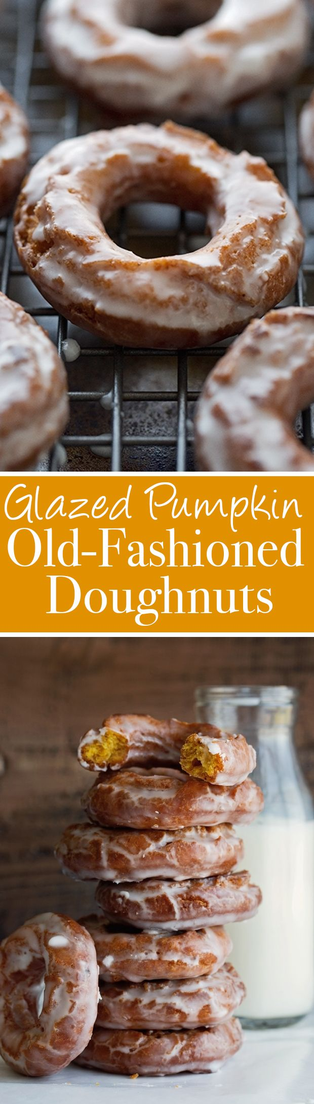 Old-Fashioned Pumpkin Doughnuts with Glaze