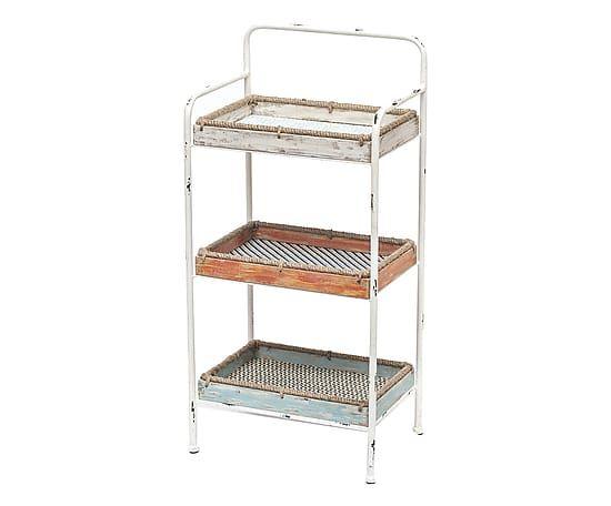 Etagere a 3 piani in metallo e rattan White Wash, 42x29x86 cm