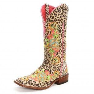 Macie Bean Women's Cheetah Print Floral Square Toe Cowgirl Boots