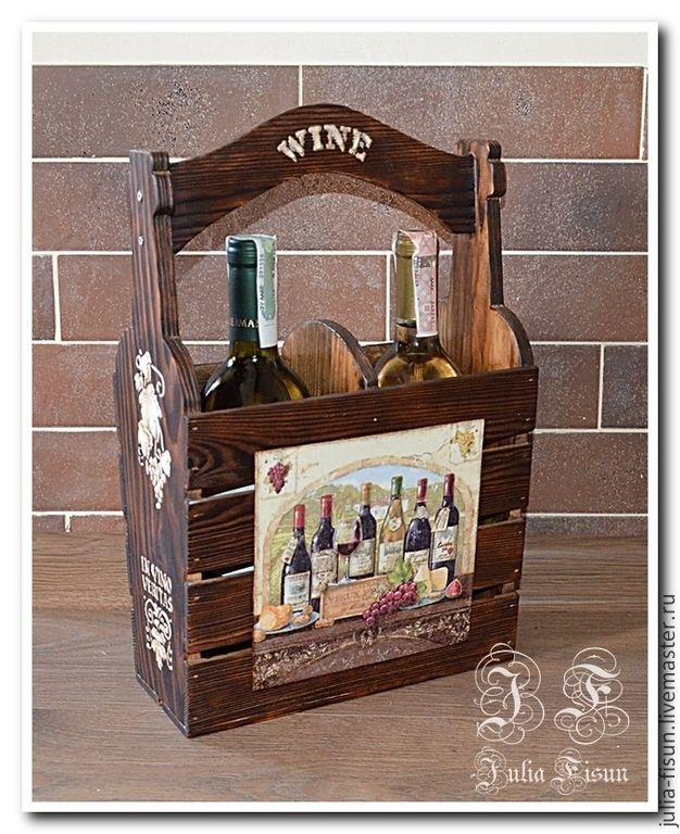 """Купить Ящик для бутылок """"Винный погребок"""" - коричневый, Декупаж, кухонная утварь, кухонный интерьер"""