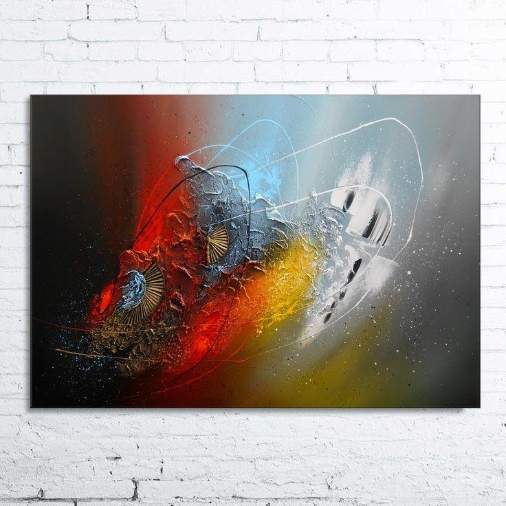 Peinture izar tableau abstrait contemporain toile acrylique en relief noir rouge bleu gris - Tableau abstrait contemporain ...