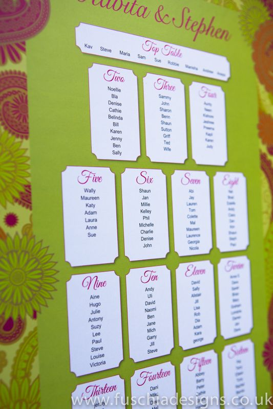 Matching table plan from the Bombay Mix collection.  Give your guests a gorgeous table plan to find our where they are sitting.  These great Asian table plans will also make a nice keepsake after the special day.  From www.fuschiadesigns.co.uk