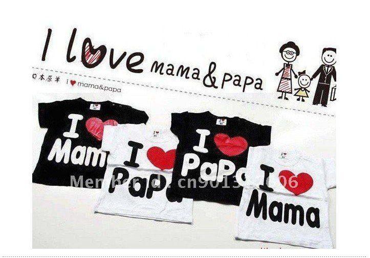Я люблю папу я люблю мама ребенка футболки мальчик девочка с коротким рукавом - по уходу за детьми футболки