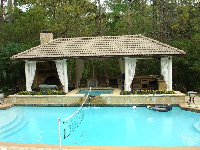 Pool cabanas pool houses cabanas swimming pool ideas for Garden cabana designs