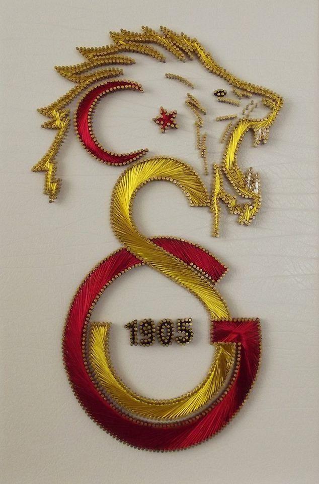 Galatasaray Logosu Aslanlı Arması Filografi deseni