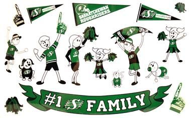 Saskatchewan Roughriders Family Window Decals  @bestinsask