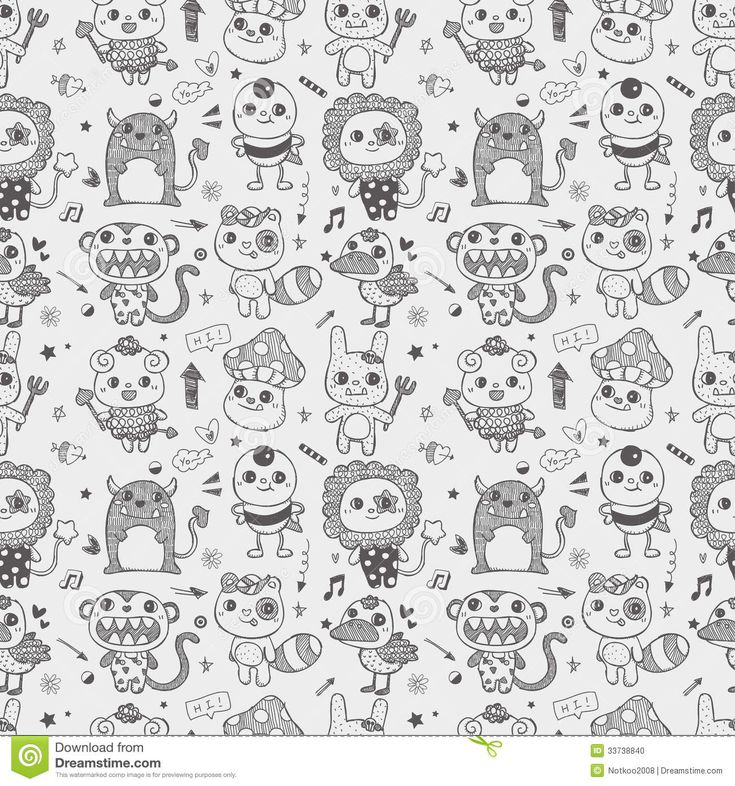 Seamless Cute Doodle Monster Pattern Background Stock Photo ...