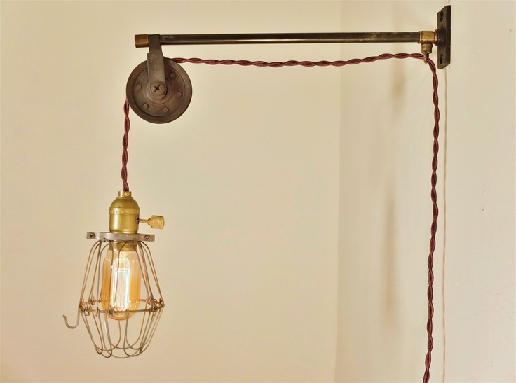 Vintage Industrial Pulley Sconce