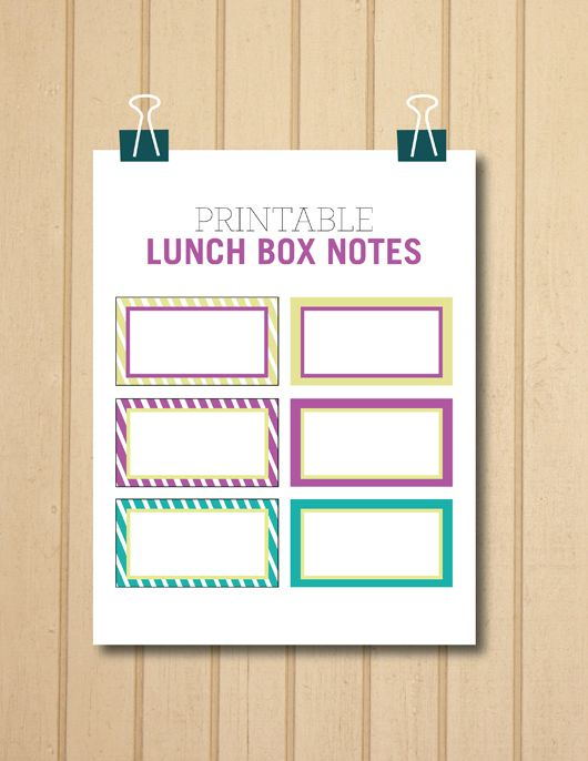 FREE downloadable. Print these out and personalize with your own lunch box greetings :)