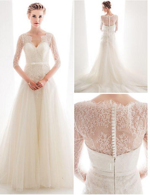 BOHO LONG SLEEVE WEDDING LACE DRESS SWEETHEART NECKLINE A LINE - PLUS SIZE