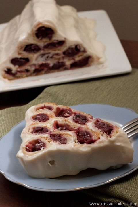 Gorka (small hill) or Domik (house) a Ukrainian / Russian Cherry cake. It has a mix of cherries, whipping cream and sour cream.