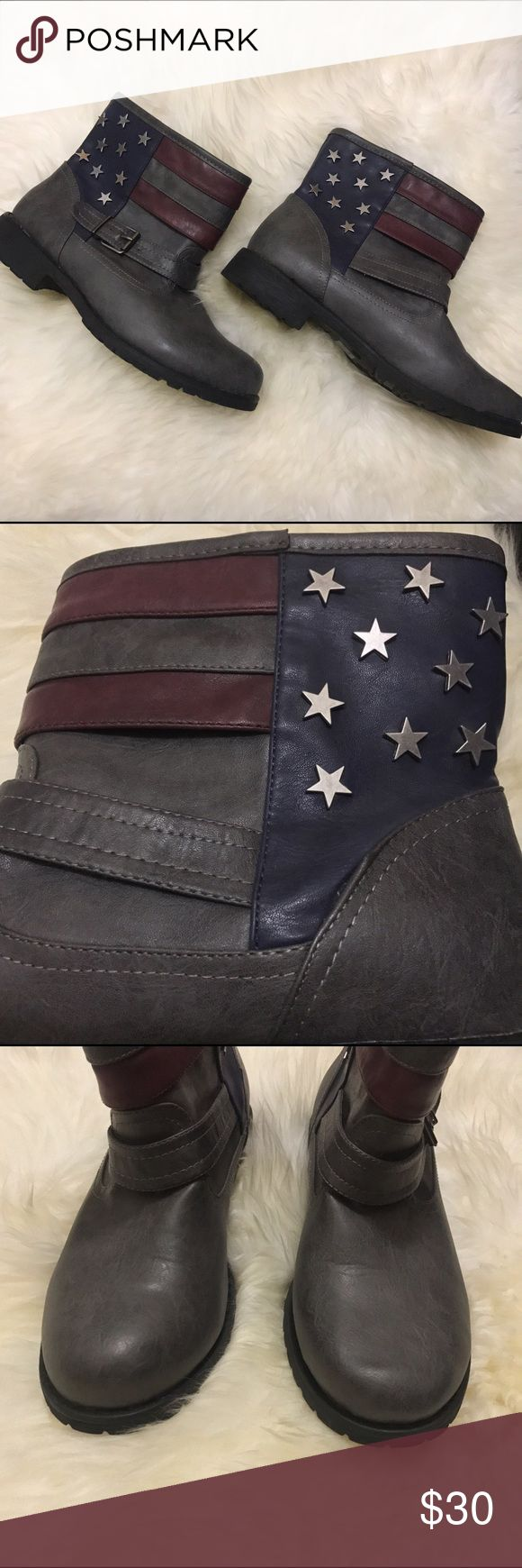 American Flag Moto Booties NWOT Such an awesome pair of boots!! Adds a cool flair to any outfit! In perfect condition worn once! Not by Free People just listed there for exposure Free People Shoes Ankle Boots & Booties