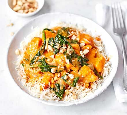 Cook this tasty vegan curry for an exotic yet easy family dinner. With spinach and sweet potato, it boasts two of your five-a-day and it's under 400 calories