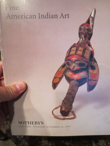 """The American Indian Art"" auction catalogue by Sothebys featuring Northwest Coast Indigenous/Native American Art - ceremonial rattle.  November 1995"